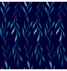 watercolor seamless pattern blue leaves on a vector image