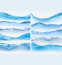 Wave realistic splashes liquid water surface vector