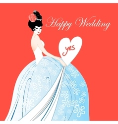 Wedding card with a lovely bride vector
