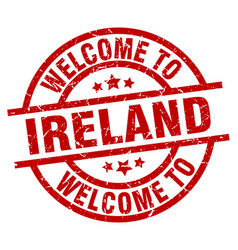 Welcome to ireland red stamp vector