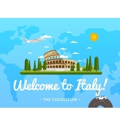 Welcome to Italy poster with famous attraction vector image