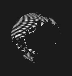 white dotted 3d earth world map globe in black vector image