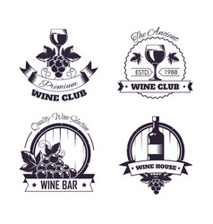 Wine club house logo templates or winemaking bar vector
