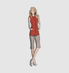 Woman in a long blouse and short trousers vector