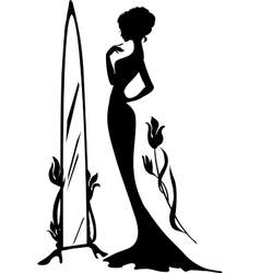 Woman in an evening dress vector