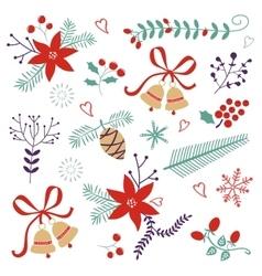 An elegant winter foliage set vector image