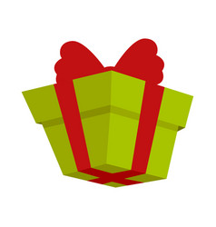 packing present icon with red bow in flat style vector image