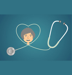 stethoscope in shape of heart vector image