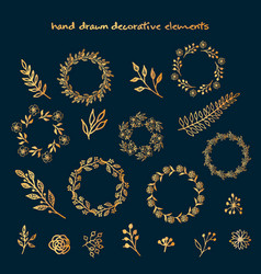 the set of hand drawn decorative elements vector image vector image