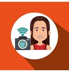 woman camera photo photography vector image