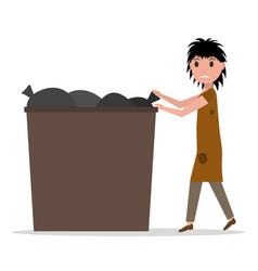 cartoon hobo beggar jobless woman dumpster vector image vector image