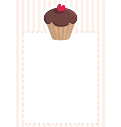Chocolate cupcake on pink white stripes pattern vector image vector image