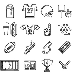 Contour icons for American football vector image