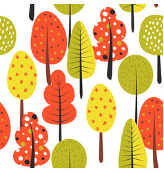 seamless pattern with trees autumn vector image