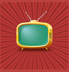 Yellow tv on a vintage background vector