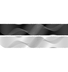 Abstract black and white wavy banners vector image vector image