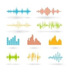 Color sound waves vector image vector image