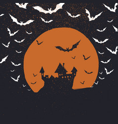 halloween poster background castle bats and moon vector image vector image