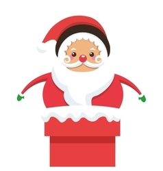 santa claus stuck on chimney icon vector image