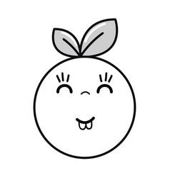 Silhouette kawaii nice happy orange fruit vector
