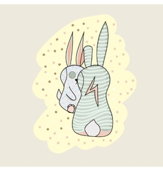Two bunny cartoon character vector image