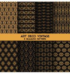 Art deco vintage patterns - 8 seamless backgrounds vector