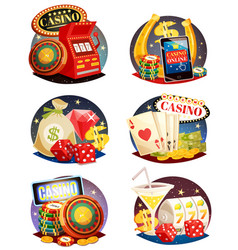 casino decorative compositions set vector image vector image