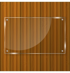 Glass frame on wood background vector image
