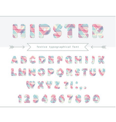 hipster vibrant font stylized letters and numbers vector image vector image