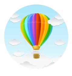 rainbow air ballon and clouds vector image