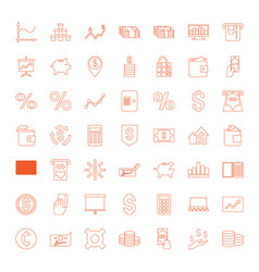 49 financial icons vector image