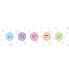 5 cupid icons vector