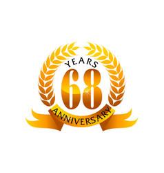 68 years ribbon anniversary vector