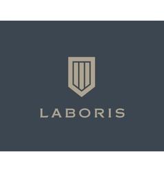 Abstract shield logo design template premium vector