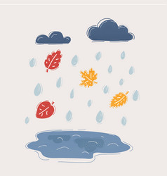 autumn and fall rain vector image