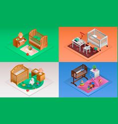 baby crib banner set isometric style vector image