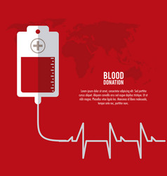 Bag cross blood donation icon graphic vector