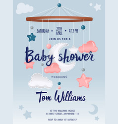 Bashower card with cute crib mobile musical box vector