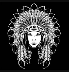 Beautiful lady head wearing american native vector