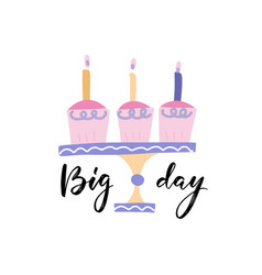 big day - brush calligraphy black ink pen vector image