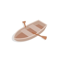 Boat with oars icon isometric 3d style vector