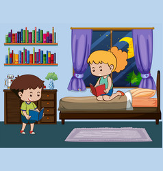 boy and girl reading book in bedroom vector image