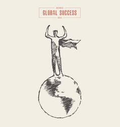 business concept global success globe man vector image
