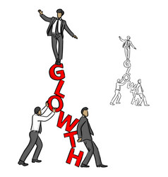 businessman balancing on the red word growth vector image