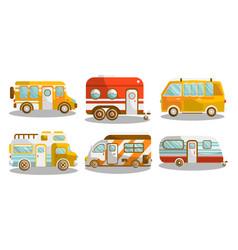 Camping bus or camper van vector