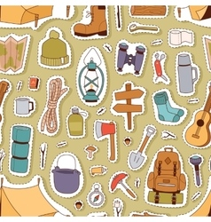 Camping stickers seamless pattern vector