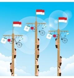 climbing game with hanging prize at top vector image