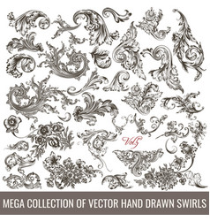 Collection hand drawn flourishes engraved style vector