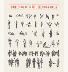 Collection of people sketches hand drawn vector