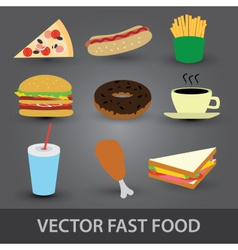 color fast food icons eps10 vector image